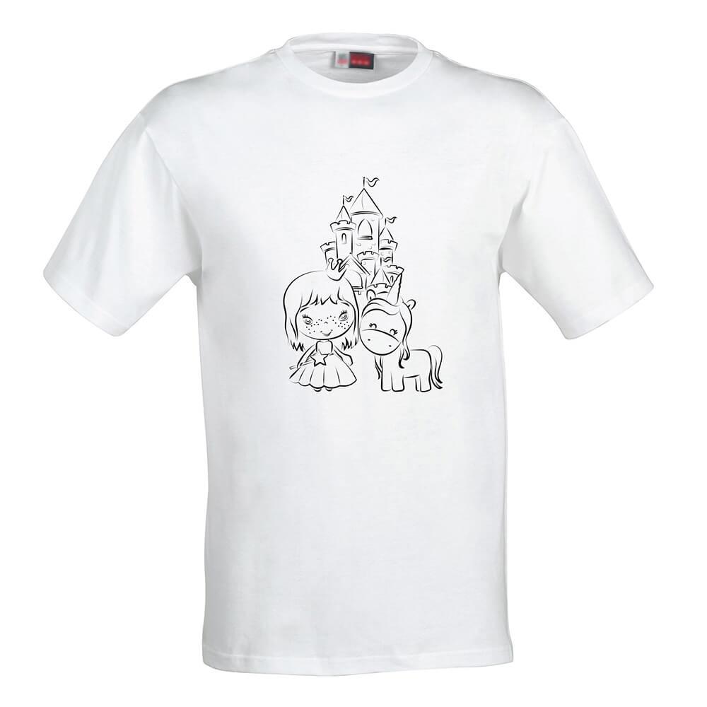 Detské tričko Omaľovánka - Jednorožec a princezná, veľkosť 110 (4 roky)