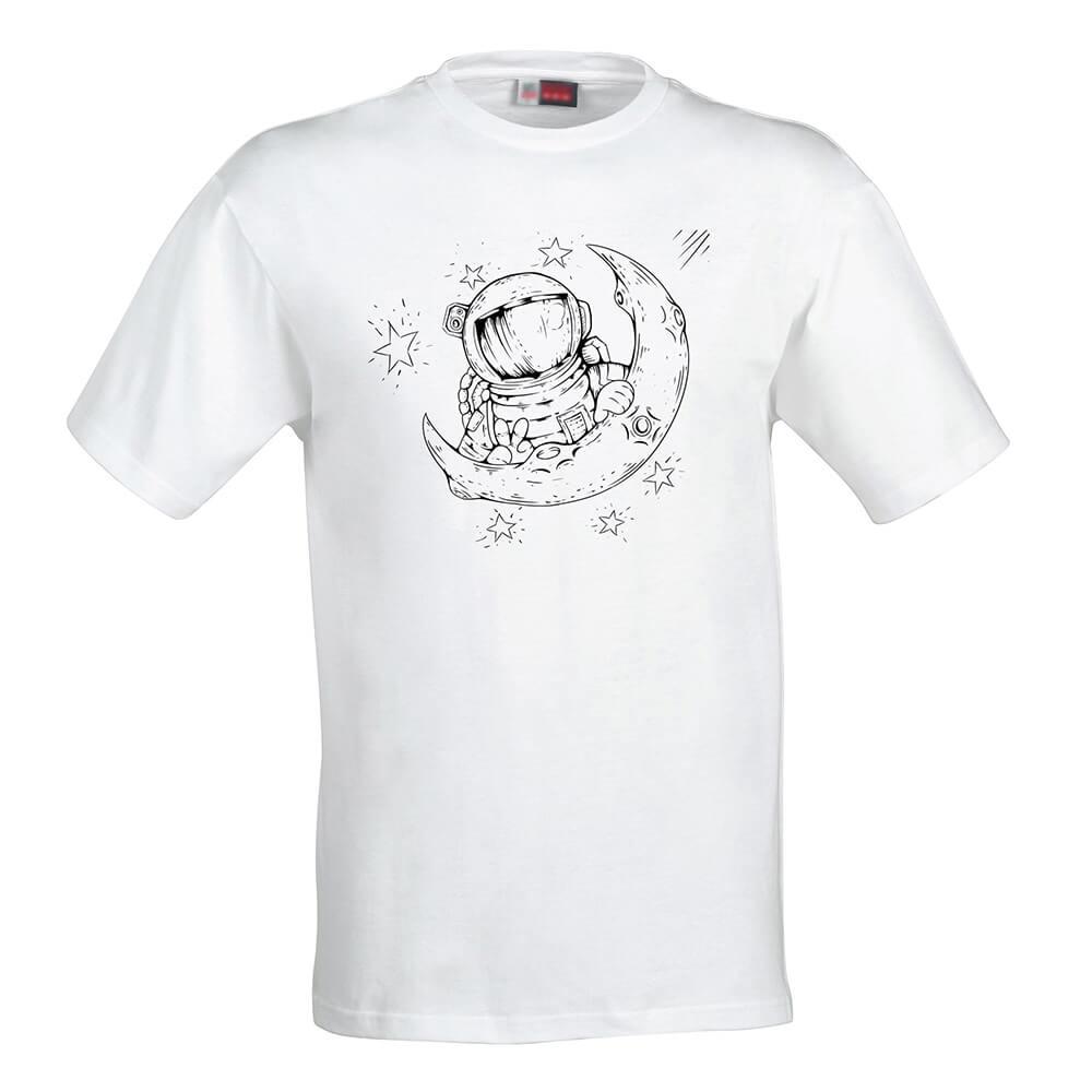 Detské tričko Omaľovánka - Astronaut na mesiaci, veľkosť 110 (4 roky)