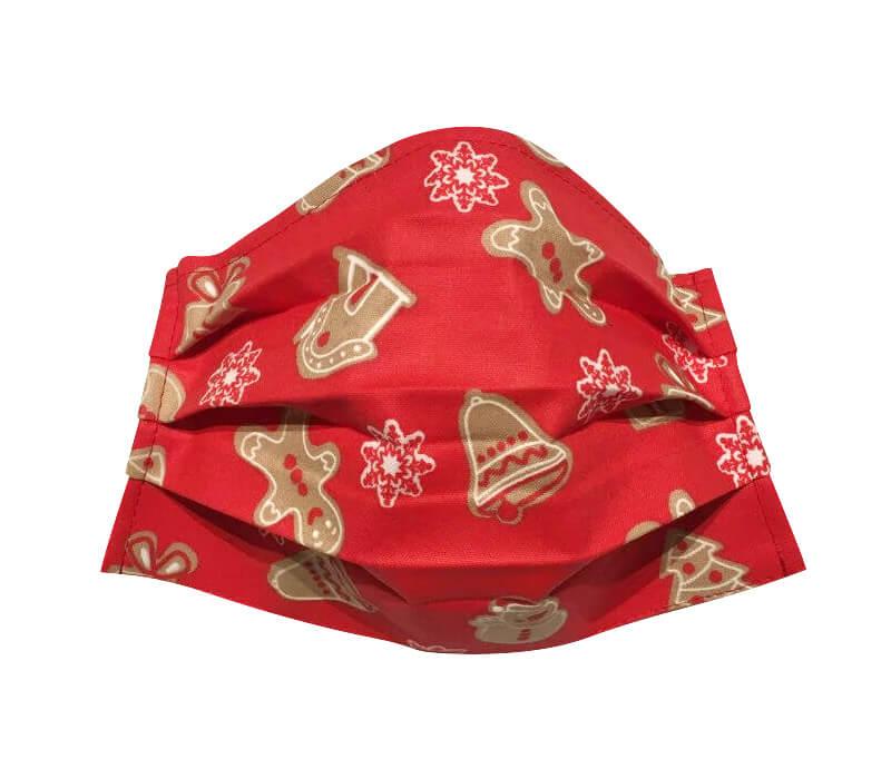 Bavlnené vianočné rúško - červené s medovníkmi
