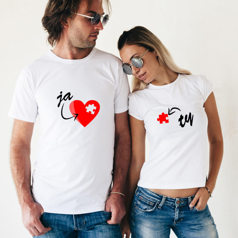 Dámske a pánske tričko - Srdce-puzzle, veľkosť S,M,L,XL,XXL