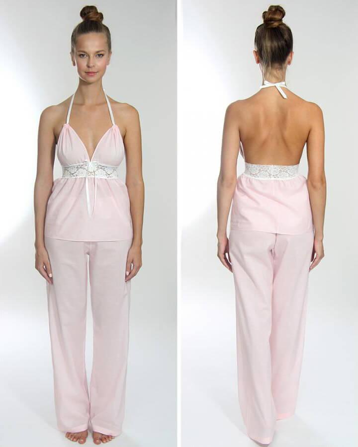 Dámske pyžamo z organickej bavlny - set (top a dlhé nohavice)- bledoružové, veľkosť S