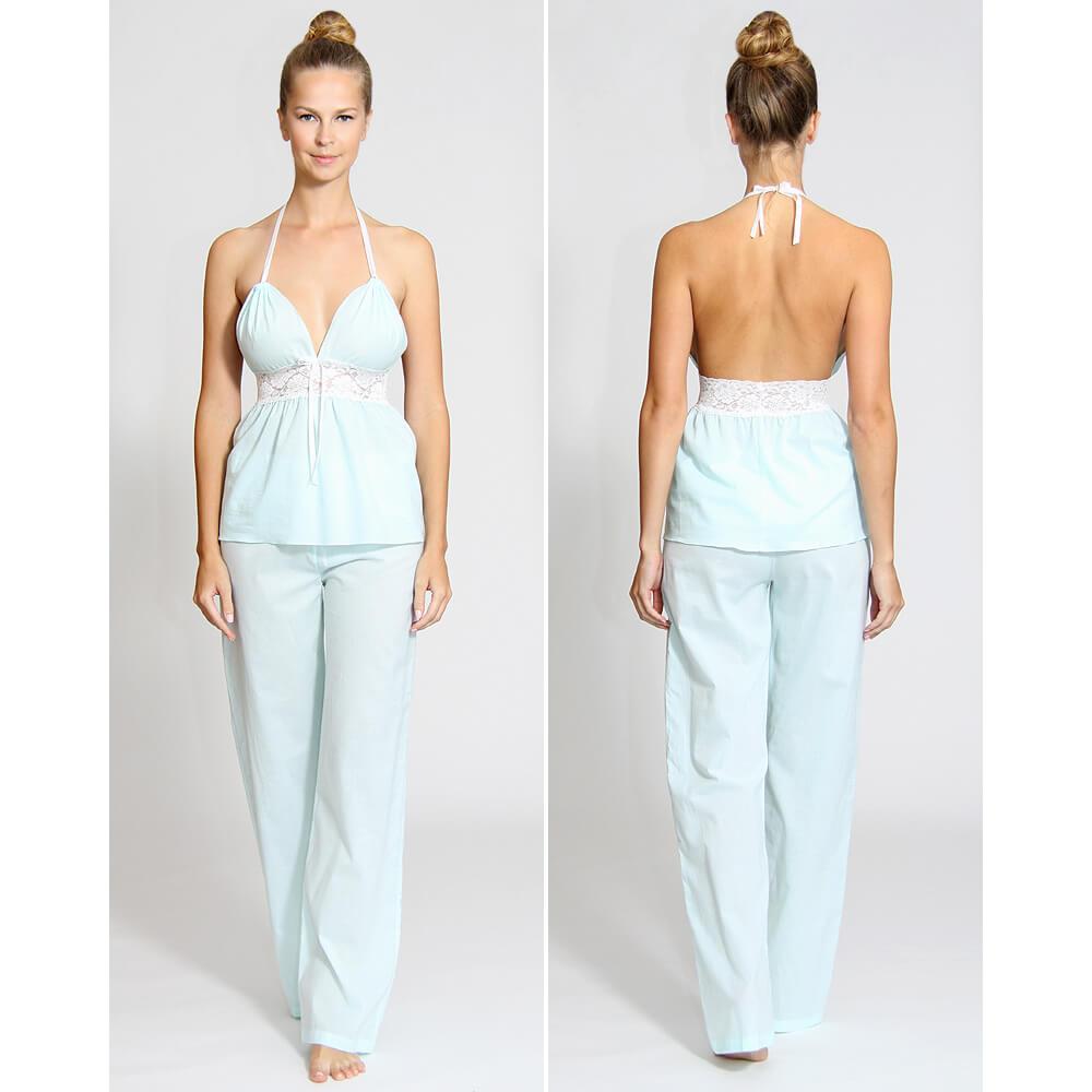 Dámske pyžamo z organickej bavlny - set (top a dlhé nohavice) - bledomodré, veľkosť L