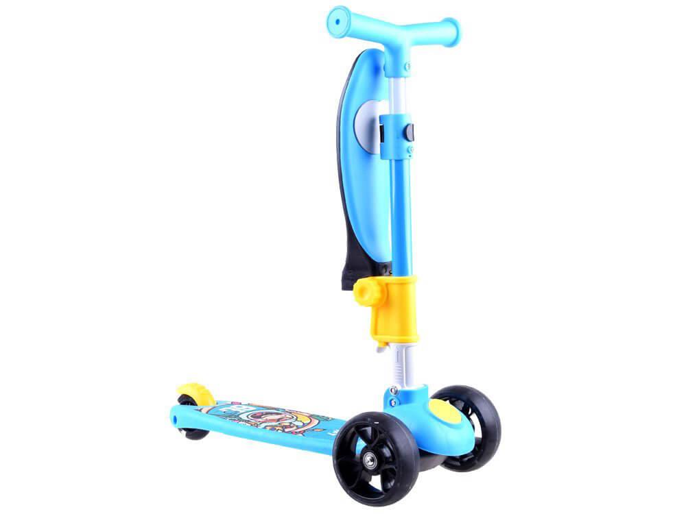 Kolobežka na 3 kolesách so sedadlom - modrá