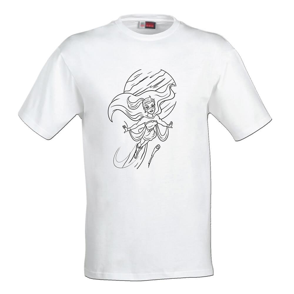 Detské tričko Omaľovánka - Lietajúca superhrdinka, veľkosť 110 (4 roky)