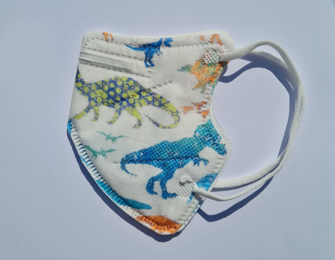 Detský respirátor FFP2 - biely s dinosaurami - 1 kus