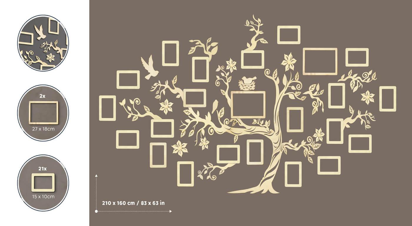 Drevený rodostrom s 23 fotorámikmi 210 x 160 cm - svetlé prírodné drevo