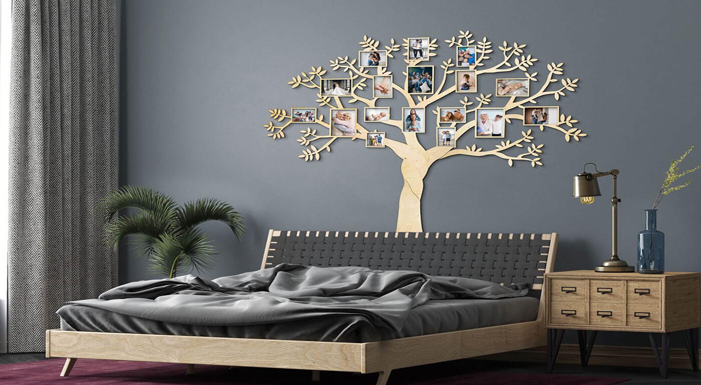 Drevený rodostrom so 17 rámikmi na fotky 160 x 150 cm - svetlé prírodné drevo