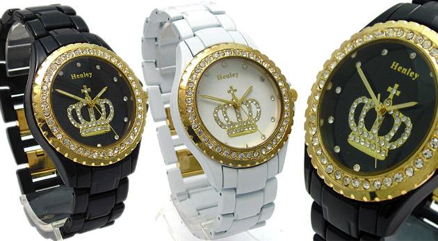 Kvalitné módne dámske hodinky značky Henley v čiernej alebo bielej farbe.