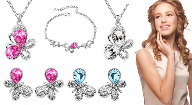 43fedd46e Nádherný set šperkov zdobený krištáľmi Swarovski Elements v darčekovej  krabičke. Na výber z troch farieb