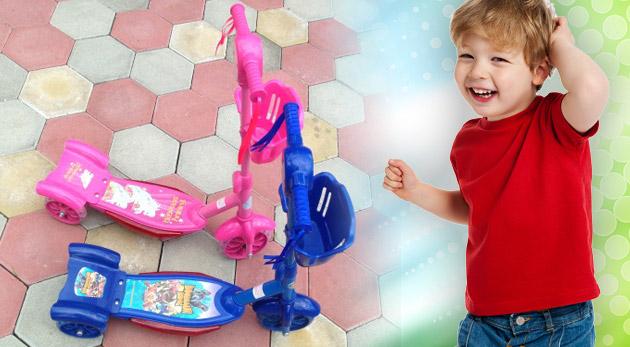 Veselá detská kolobežka v ružovej alebo modrej farbe s melódiami pre väčšiu zábavu vašich detí.