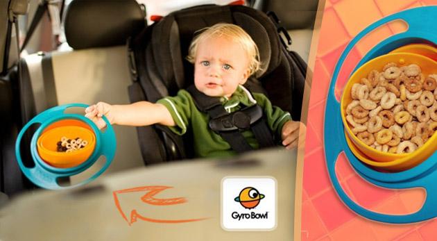 Gyro Bowl - jedinečná neprevrátiteľná miska. Šikovná a praktická pomôcka pre deti i rodičov.