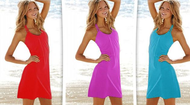Príjemné letné šaty ako stvorené nielen na dovolenku. Nápaditý strih v 10  moderných farbách. 6ff84d9158a