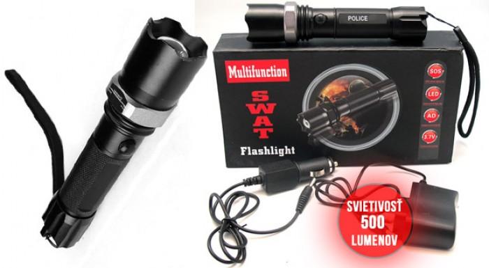 Ľahká, pevná a odolná dobíjacia baterka POLICE SWAT 500W - super sada v darčekovej kazete.