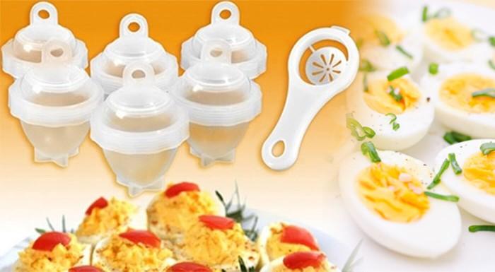 Fotka zľavy: Praktické nádobky na varenie vajíčok len za 5,90€. Šikovne uvarené vajíčka na tvrdo, ktoré už nemusíte šúpať a môžete ich ešte pred varením dochutiť. Možnosť osobného odberu v Bratislave.