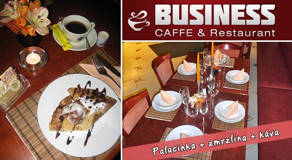 Palacinka so zmrzlinou a dobrá kávička len za 1,33€. Pozývame Vás do Business caffe & Restaurant na sladké potešenie a posedenie pri palacinke s džemom, zmrzlinou a cukrom + káve s mliekom.