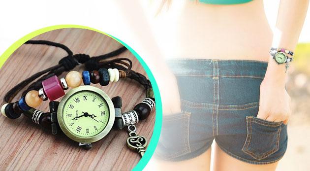 Dámske hodinky s ozdobným remienkom v štýle VINTAGE.