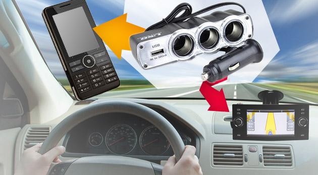 USB adaptér a trojnásobný rozbočovač do auta.