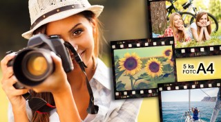 Zľava 69%: Zvečnite svoje milované momentky teraz so zľavou až 69 %! Vyvolanie 5 fotografií vo formáte A4 alebo A3 na lesklom a kvalitnom fotopapieri 220g už od 4,99€. Doručenie zadarmo!