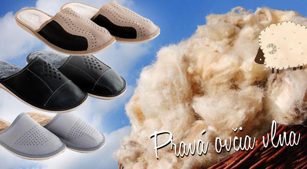 Pánske hrejivé papuče z pravej ovčej vlny.