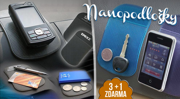 Fotka zľavy: Praktická nanopodložka len za 1,49€. Padajú vám veci z palubnej dosky, nemáte si kam odložiť mobil, navigáciu či MP3? Bonus navyše: pri kúpe 3ks získate štvrtú podložku zadarmo.