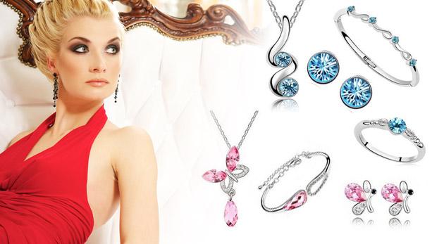 Biely 4 dielny set šperkov vlna: náhrdelník, náušnice, náramok a prsteň len za 10,90€