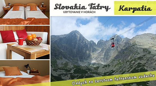4-dňový pobyt vo Vysokých Tatrách len za 41,90€. Bývajte priamo v Tatrách v blízkosti Studenovodských vodopádov a Tatranskej Lomnice. V cene tiež výrazné zľavy do Aquacity Poprad a kúpaliska Vrbov.