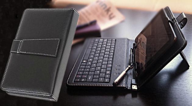Elegantný obal na tablet s klávesnicou pre 7 palcový tablet v čiernej farbe - praktická ochrana tabletu pred poškodením.