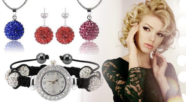 Set šperkov Shamballa s hodinkami - trblietavá sada zdobená českými krištáľmi. Retiazka a náušničky sú z pravého striebra!