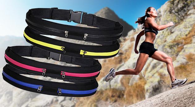 Športový pás s úschovným priestorom - elegantná ľadvinka v štyroch trendy farbách.