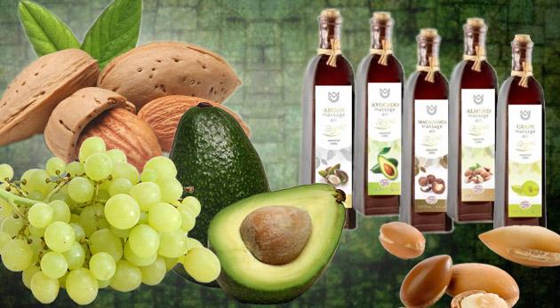 Prírodné oleje na kozmetické účely. Na výber 6 druhov: arganový, makadámiový, mandľový, hroznový, avokádový a marhuľový.