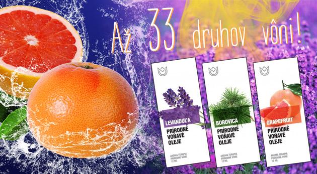 Jedinečný balík vonných olejov a prírodných éterických olejov. Na výber z 33 druhov vôní.