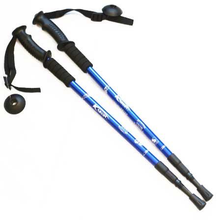 1 pár trekingových palíc s pogumovanou čiernou rukoväťou a kompasom /modré/