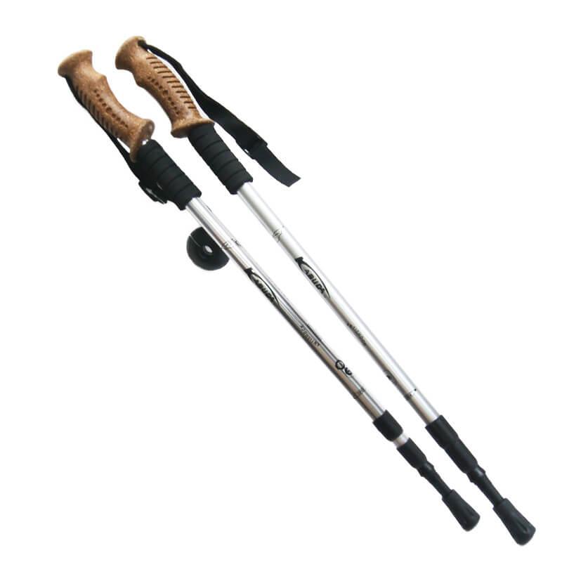 1 pár trekingových palíc s korkovou hnedou rukoväťou /strieborné/