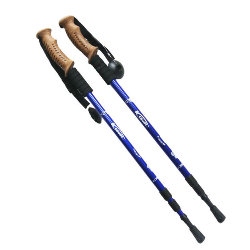 1 pár trekingových palíc s korkovou hnedou rukoväťou /modré/