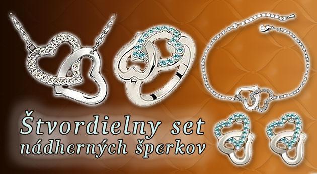 Štvordielny set nádherných šperkov v tvare srdca potiahnutý bielym zlatom so Swarovski krištáľmi