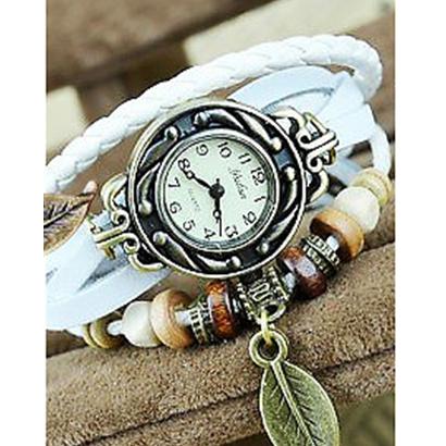 Retro hodinky s listom, farba biela