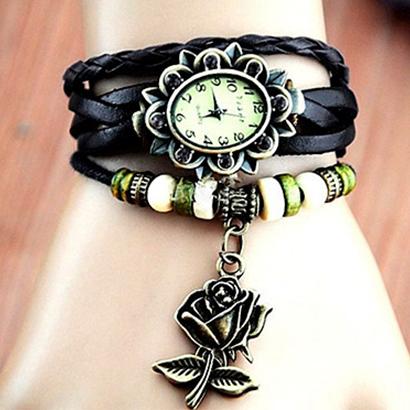 Retro hodinky s ružou, farba čierna