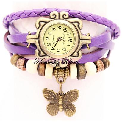 Retro hodinky s motýlikom, farba fialová