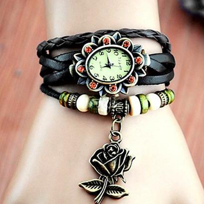 Retro hodinky s ružou, farba hnedá