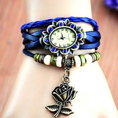 Retro hodinky s ružou, farba modrá