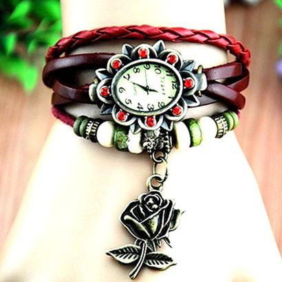 Retro hodinky s ružou, farba červená