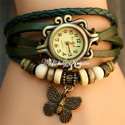 Retro hodinky s motýlikom, farba zelená