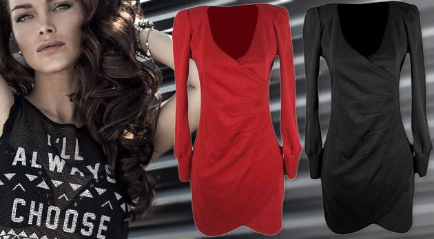 Zavinovacie šaty s dlhým rukávom v čiernej alebo červenej farbe 4dd84c5ea07