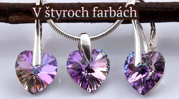 Postriebrené šperky Swarovski - pôvabné náušničky a retiazka s príveskom v tvare srdiečka