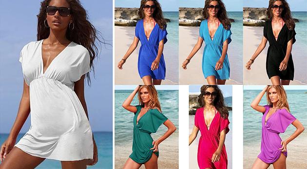 0ba33754a252 Dámske plážové šaty so zvodným V-čkovým výstrihom v siedmich módnych farbách