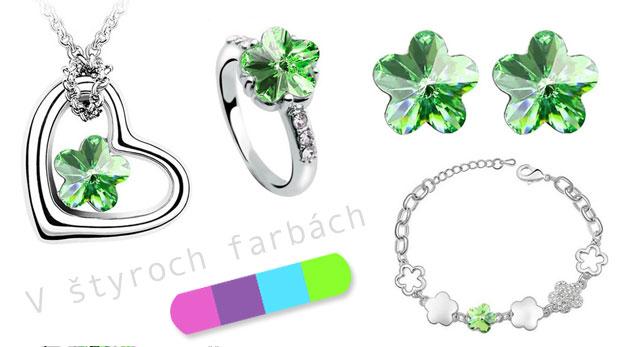 Päťdielna sada šperkov: Náušnice, retiazka s príveskom, prstienok a náramok s kryštálikmi s motívom kvietku