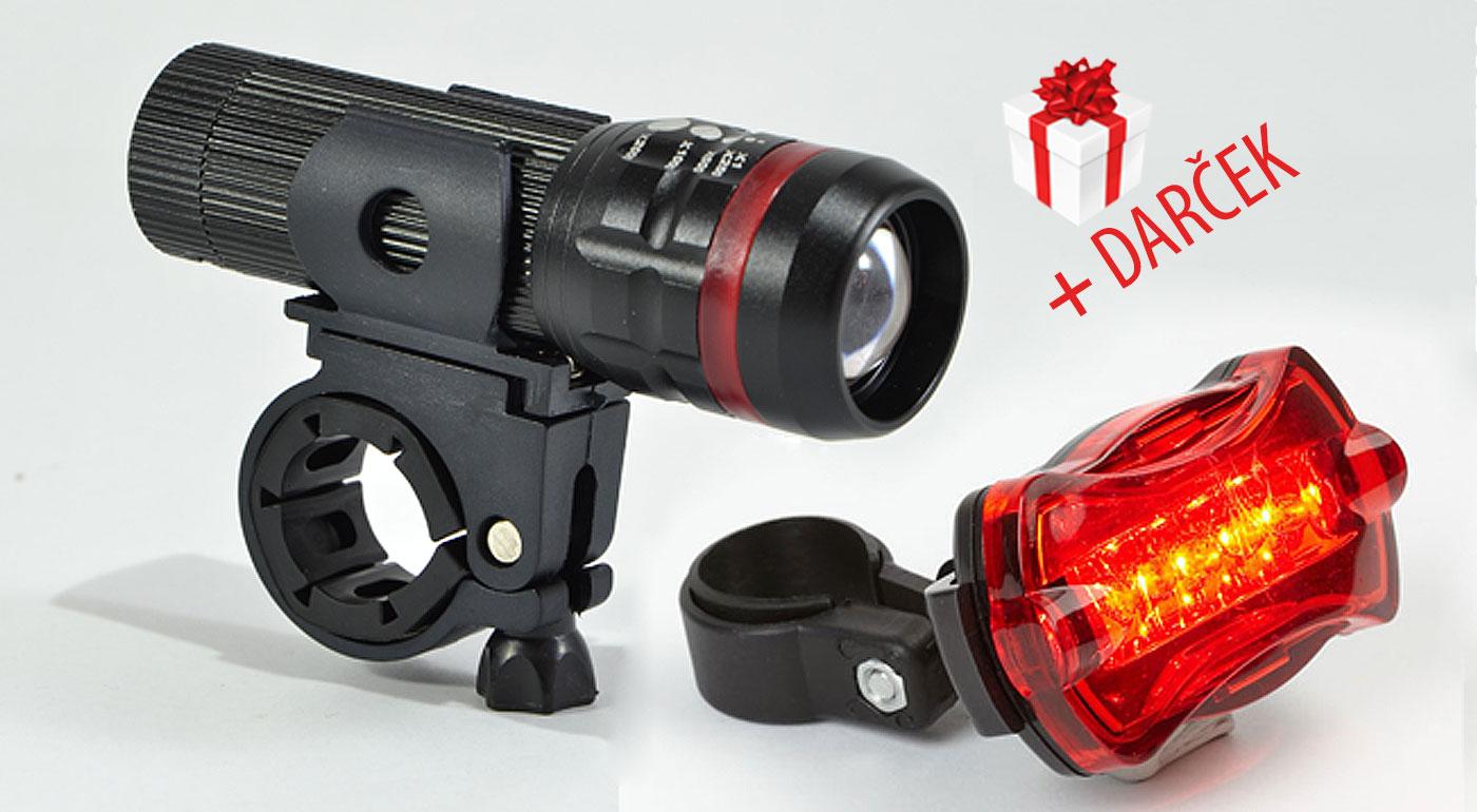 Súprava svetiel na bicykel: LED predná batéria, zadné svetlo a držiaky pre bezpečnú jazdu. BONUS - reflexná páska na rameno!