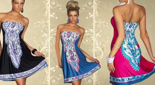 Sexi dámske šaty na leto so svojráznym vzorom v troch farbách f3da74dfca2