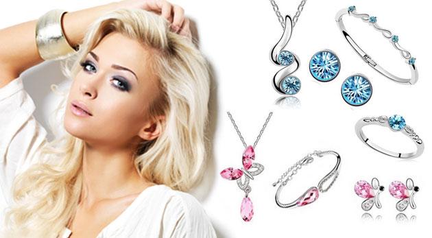 Nádherný 3 alebo 4-dielny set šperkov so Swarovski krištáľmi a zaujímavým dizajnom