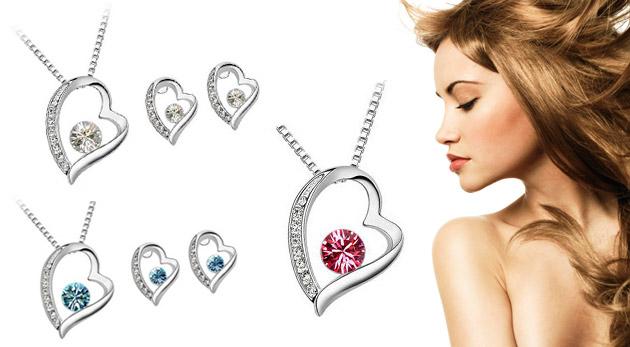 Trojdielny set nádherných šperkov s motívom srdca v troch kráľovských farbách